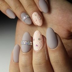 2017 Oval nails with rhinestones. Matte nail polish. Gray popular color for autumn manicure. OCTOBER 1, 2017BEIGE, GRAY, LONG, MATTE, OVAL, RHINESTONES