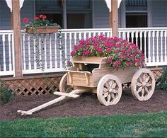 Amish Wooden Buckboard Planter - Small