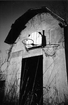 Basketball hoop on an old barn. . I sOOOOOOOO want this framed