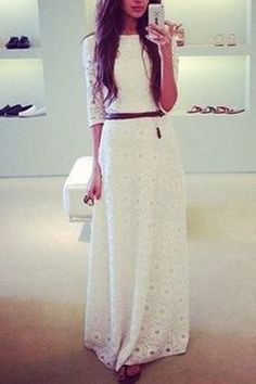 White Half Sleeve Maxi Dress