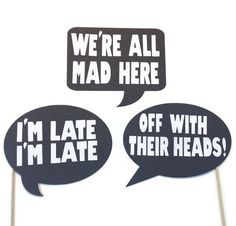 alice in wonderland photo booth props | Photo Booth Props - Alice and Wonderland Themed Word Bubbles - 3 Piece ...