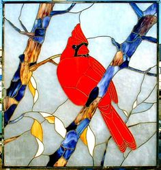 stained glass cardinal fine art | Stained Glass Cardinal in tree