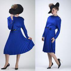 5a2dfec7a14 VTG 70s 80s ST JOHN Royal Blue ACCORDION PLEAT Party Knit SWEATER DRESS M   StJohn