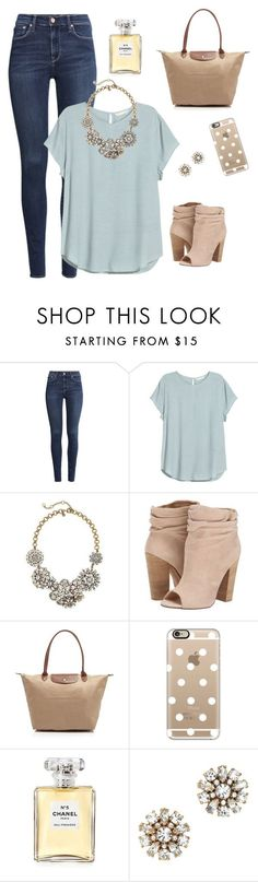 """Ootd"" by smiles-iv ❤️ liked on Polyvore featuring H&M, J.Crew, Chinese Laundry, Longchamp, Casetify and Chanel"