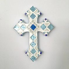 First communion gift white with gold mosaic wall cross gift for godchild christian wall art large mosaic cross blue white wall cross negle Images
