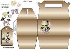 An Keepsake Box in Brown Tones with a Beautiful Delicate Coloured Rose and Tag Print 2 Copies to make up.