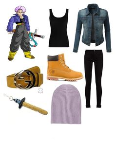 FUTURE TRUNKS by elysse-florence-bennett on Polyvore featuring polyvore, fashion, style, Twenty, LE3NO, Gucci, Timberland, Barneys New York and clothing