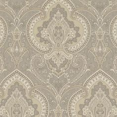 'Castlehead Paisley' wallcovering in Pewter, part of the Archival English Papers II, by Ralph Lauren Home