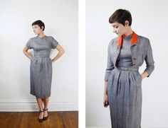 1950s Grey Dress and Jacket Set  S by LoveCharles on Etsy