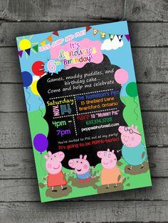 Peppa Pig Party Invitations Kids Birthday by PartyPrintableInvite