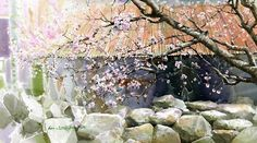 "Fine Art and You: Korean Watercolor Painter ""Shin Jong Sik"" Watercolor Mixing, Gold Watercolor, Watercolour Painting, Watercolor Flowers, Watercolors, Landscape Drawings, Watercolor Landscape, Landscape Paintings, Landscapes"