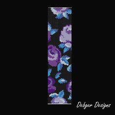 Rhythm and Blues Beaded Peyote Bracelet Cuff by FUNPATTERNDESIGNS