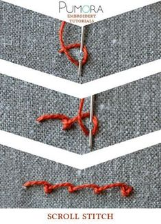 Pumora's lexicon of embroidery stitches: the scroll stitch