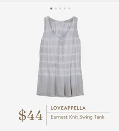 Stitch Fix: Loveappella Earnest Knit Swing Tank Click to try out Stitch Fix | Online Personal Stylists for Women https://www.stitchfix.com/referral/7685525 Fix 1