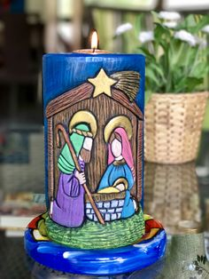 Christmas Nativity, Christmas Time, Christmas Crafts, Holiday, Candels, Pillar Candles, Pottery Bowls, Stone Painting, Wood Carving