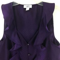 Ann Taylor Loft Womens Size S Purple Dotted Print Loop Button Ruffled Top #AnnTaylorLOFT #Blouse #Casual
