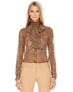 Printed Bow-Neck Blouse by Michael Kors at Bergdorf Goodman. Beautiful Outfits, Cute Outfits, Animal Print Fashion, Print Chiffon, Michael Kors Tops, Autumn Fashion, Holiday Fashion, Menswear, Clothes For Women