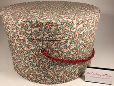 Extra Large Hat Box in Blue and Red Swirl by TheTeaberryCottage