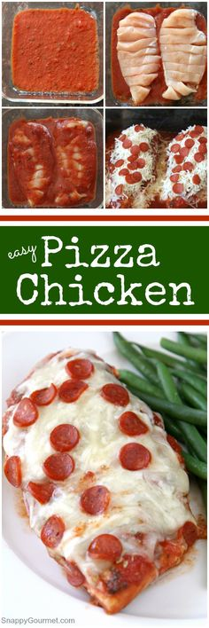 Easy Pizza Chicken recipe - homemade chicken recipe that you bake in the oven. Kids will LOVE It! Top with your favorite cheese and topping such as pepperoni. Low carb, gluten-free, and delicious! SnappyGourmet.com