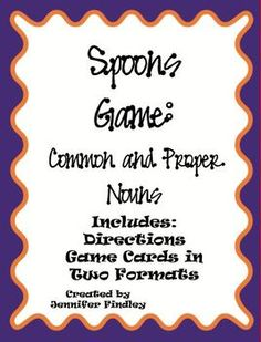 Check it out! Modeled after the popular card game, this is a Spoons Game for common and proper nouns.In this file,...