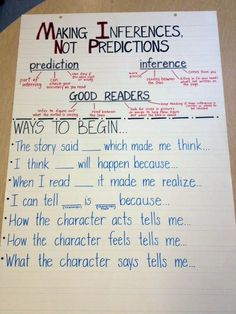 (Anchor Charts) Differences between Inference and Prediction. Excellent to use when introducing inferences. Students can tell what they know about predictions, and then learn about how inferenceing is different. Reading Lessons, Reading Skills, Teaching Reading, Guided Reading, Math Lessons, Poetry Lessons, Reading Projects, Reading Logs, Reading Groups