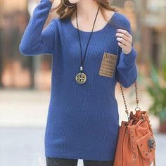 Cheapest Sweater All Match Korean Style Solid Color Long Sleeves Knit Sweater Blue