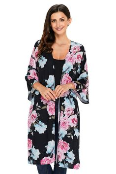 5197a01dad Floral Printed Side Slit Boho Black Kimono Beachwear Cover-Up