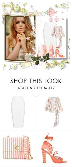 """""""peach in spring"""" by rvazquez ❤ liked on Polyvore featuring Moleskine, Cushnie Et Ochs, Chanel, Paula Cademartori, Matthew Williamson, Spring, white and floral"""