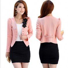 07eafe53046d New Fashion Women Lady Tops Slim Office Normal Suit OL Blazer Short Coat  Jacket