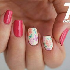 Red floral nails
