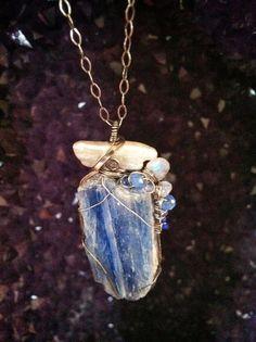Blue Kyanite freshwater Pearl Moonstone Swarovski by GypsyLotusCo, $78.00