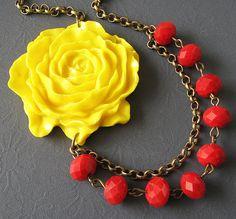 Flower Necklace Red Jewelry Bib Statement Necklace Yellow Jewelry Bridesmaid Necklace Double Strand