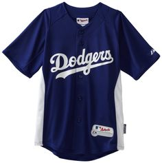 $60 Los Angeles Dodgers Youth SM Auth Cool Base Batting Practice Jersey Majestic