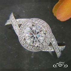 PLATINUM DIAMOND HALO CROSS OVER RING