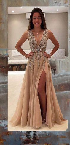 Deep V Prom Dress,Beaded Prom Dress,Fashion Prom Dress,Sexy Party Dress,Custom Made Evening Dress