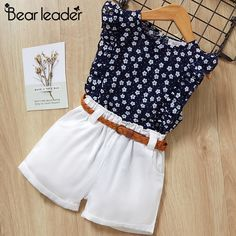 Bear Leader 2019 New Summer Casual Children Sets Flowers Blue T-shirt+ Pants Girls Clothing Sets Kids Summer Suit For Years Baby Outfits, Cute Outfits, Pretty Outfits, Casual Outfits, Little Girl Dresses, Girls Dresses, Party Dresses, Kids Suits, Kids Frocks