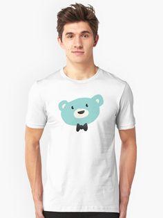 Simple cute blue bow tied bear T-shirt by Hopeonedayarts on Redbubble