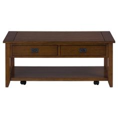 Jofran 1032 1   Mission Oak Castered Cocktail Table With 2 Pull Thru Drawers