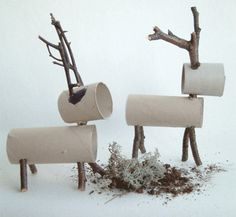 Renas feitas a partir de rolos de papel higiénico. Paper roll & stick Reindeer by mollymoo.ie - Christmas Crafts for Kids All Things Christmas, Christmas Holidays, Christmas Ornaments, Simple Christmas, Natural Christmas Decorations, Christmas Raindeer, Reindeer Decorations, Christmas Cactus, Christmas Deer