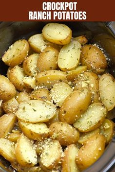 Slow Cooker Potatoes with Ranch seasoning are easy to make in the crockpot with minimal prep and simple pantry ingredients. They're incredibly tasty and sure to be a crowd pleaser.