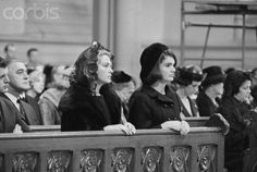 Photo of Joan Bennett Kennedy (wife of Edward Kennedy) and Jackie Kennedy at the Requiem Mass of President John F. Kennedy
