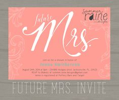 """Future Mrs Hand drawn Printable BRIDAL Shower Invitation- 5""""x7"""" - Customize your Colors #etsy #summerrainedesigns #coral #mint"""