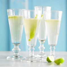 For a bubbly twist, we've added sparkling wine to these Margaritas.In a cocktail shaker combine half of the tequila, lime juice and agave nectar with plenty of ice. Shake for 5 seconds and strain the mixture into three glasses. Repeat with remaining tequila, juice, and agave nectar. Top each serving with sparkling wine. Add a lime peel strip. Add additional lime juice to taste. Makes 6 servings