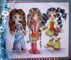Flower-Power meiden van Krista Smith   Skin: E50-51-53-11-13; Girl on left: hair: E59-08-19-YR14; Blue: B0000-00-01; Lilac: V20-22-25-28; Pink: RV11-14-19; Middle Girl: Hair: E44-42-40-W00; Orange: YR14-16-18-27; Pink: RV11-14-19; Blue: (as above); YG-green 01-23; Girl on Right: Hair: BV29-25-23-20; Orange: YR14-16-18-27; Pink: RV11-14-19; YG00-green 01-23; Gray: Woo-1-3