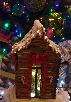 Gingerbread House made with cinnamon sticks