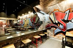 Great brick detail Tokyo Ramen by Mima Design, Sydney Australia fast food Ramen Bar, Ramen Shop, Interior Concept, Interior Design, Noodle House, Noodle Bar, Japanese Restaurant Design, Barber Shop Interior, Brick Detail