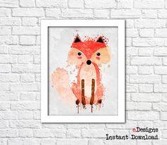 Printable Kids Poster Fox Watercolor Woodland Animal by eDesignss
