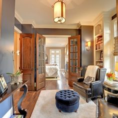 oak but the baseboard trim is still white, light antique hardware. Oak Interior Doors Design Ideas, Pictures, Remodel, and Decor - page 4