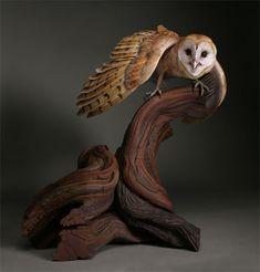 Wood Carving Owl - Barn Owl carving by Al Jordan