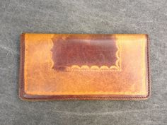 70's Checkbook Cover // Brown & Tan Leather by ElkHugsVintage, $11.00